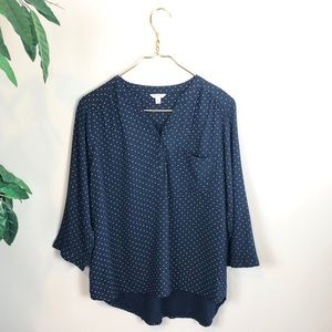 Sonoma • Navy Blue Moon/Star Popover Blouse.